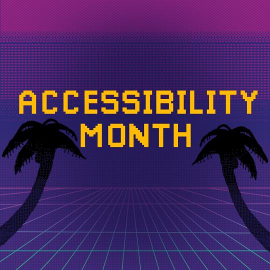 """Napis """"Accessibility Month"""" na tle w stylu retro, po obu stronach palmy"""