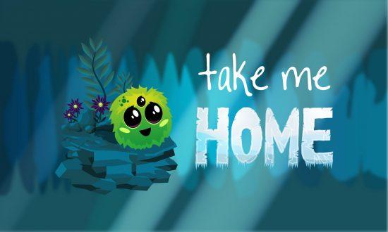Splash screen gry Take me Home, na środku wyświetlony tytuł gry, po lewej główny bohater produkcji